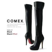 ヒール コメックス 【送料無料】 ラウンドトゥ スエード ショートブーツ 厚底 靴 レディース COMEX ハイヒール (7096) ショートブーツ スエード ヒール13cm プラットフォーム ブーツ