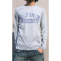 綺麗なブルー チェック柄ロゴ ロングTシャツ Tシャツ メンズ レディース ロゴt おもしろtシャツ 長袖