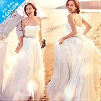 ウェディングドレス 二次会 ロングドレス ウエディングドレス ビスチェタイプ エンパイアドレスhs299