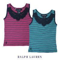 胸元のレースが女の子らしい可愛らしいボーダータンクトップ!右下にクラシックポニーの刺繍入り。 ラルフ...