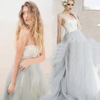15766f2f0c6c2 短納期 人気 格安 結婚式 花嫁ウェディングドレス 結婚式 披露宴 二次会 グレー レース  パーティードレス ロング