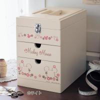愛らしくスタンバイして手作りをサポート  持ち手付きで移動しやすいコンパクトな裁縫箱。上段は整理に役...