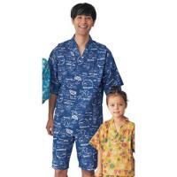 ガーゼ素材が心地いい!家族おそろいも楽しいね  ゆったりとして風通しのいい甚平パジャマ。頭からすっぽ...