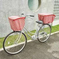 大切な荷物をおしゃれにガード  自転車のカゴの中のものを雨や盗難から守る、撥水加工付き自転車カゴカバ...