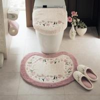 トイレマット トイレ 便所 お手洗い 洗える すべりにくい 刺繍 花柄 おしゃれ かわいい ピンク 標準&温水フタセット