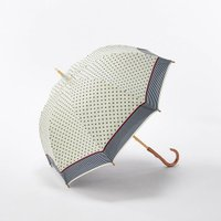 ベルメゾン 晴雨兼用二重張りUV木棒日傘(ロング) カラー 「ドット(オフホワイト)」
