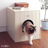 トイレをおしゃれに目隠し。快適なスペースに。  生活感が出がちな猫用トイレを可愛く隠す収納カバー。ニ...