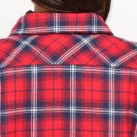 おしりが隠れる長め丈☆チェック柄裏ボア付きシャツ 「M〜4L」