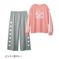 子供 パジャマ ベルメゾン ニコラコラボ ワイドパンツパジャマ ピンク×杢グレー