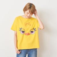 Tシャツ カットソー プルオーバー レディース ディズニー ビッグシルエットフェイスTシャツ(レディース) 「ダッキー(イエロー)」