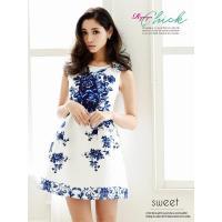◆Information◆ ☆清潔感溢れる白ドレスに映えるブルーの花柄キャバクラワンピは華麗な大人L...
