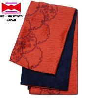 浴衣帯 京都 西陣 日本製 しじら織 小袋タイプ 雪輪に桜柄 オレンジ色