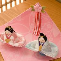 【P10倍】 ひな人形 雛人形 コンパクト ちりめん お雛様  幼な雛 敷几帳付