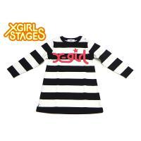 ブランド:X-girl Stages エックスガールステージス  商品名:ロゴボーダー長袖ワンピース...