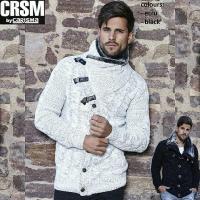 【CRSM】  ゴージャスなファー使いのニットジャケット。スナップボタンを閉めれば首元暖か。ボタンの...