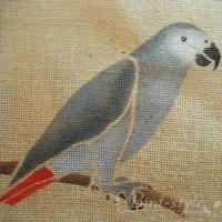 インコ 鳥柄 雑貨/ヨウムのジュートバッグ