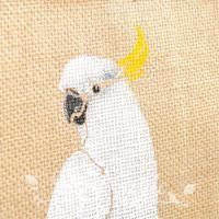 インコ 鳥柄 雑貨/キバタン(白オウム)のジュートバッグ