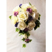 アートフラワー〔造花〕ブーケ/白バラ&パープル・ブルーパープルセミキャスケードブーケ