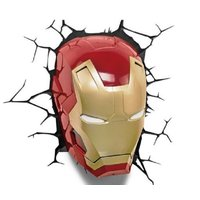 大人気アメコミのヒーロー、アイアンマンのマスク 壁用LEDライトです。 ひび割れステッカーが付属なの...