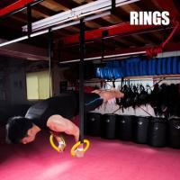 吊り輪はトレーニングで使用するリングとストラップベルトのセットです。上部にベルトを回し掛けでリングを...