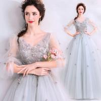 ウェディングドレス ロング・二次会用ウエディングドレス・ エンパイアドレス 花嫁 二次会 ドレス  刺繍   袖あり