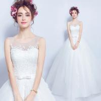 大人気!ウェディングドレス エンパイア  Aラインドレス 二次会 花嫁 編み上げ ホワイト パーティードレス・結婚式・二次会・披露宴・花嫁ドレス 嬢ドレス
