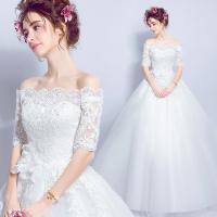 ウェディングドレス  二次会 花嫁 Aライン 編み上げタイプ オフショルダー ウエディングドレス パーティードレス・結婚式・二次会 ドレス 嬢ドレス