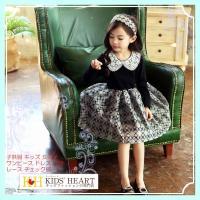 502d66f75f304 商品名:子供服 レース襟&チェック柄 長袖 上品 ワンピース キッズ 女の子 かわいい