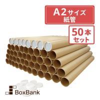 紙管 紙筒【直径51×1.0×450mm】 [A2用] キャップ付 50本セット ●ポスター・カレン...