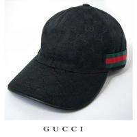 グッチ ベースボールキャップ・帽子 GUCCI GGブラック レッド×グリーン 200035 FFK...