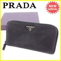 ■管理番号:A1700  【商品説明】 プラダの 長財布です。 定番人気のロゴプレート付き☆ラウンド...