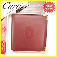 ■管理番号:G1035  【商品説明】 カルティエの  二つ折り財布です。 定番人気のマストライン☆...