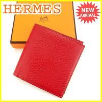 ■管理番号:J12239  【商品説明】 エルメスの  二つ折り財布です。 高級感のあるシンプルで上...