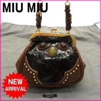 ■管理番号:M734  【商品説明】 ミュウミュウ【miumiu】の クラック加工 チェーンストラッ...