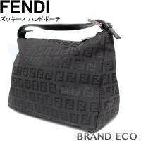 FENDI【フェンディ】ズッキーノ ハンドバッグ キャンバス ブラック コスメポーチ 黒色【中古】