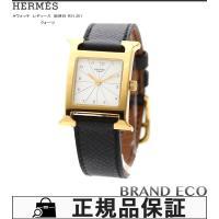 【送料無料】HERMES【エルメス】Hウォッチ レディース腕時計電池式 クォーツゴールドメッキ ブラ...
