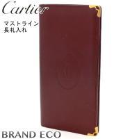 Cartier【カルティエ】 マストライン 長札入れ ボルドー カーフレザー 二つ折り 財布 メンズ...