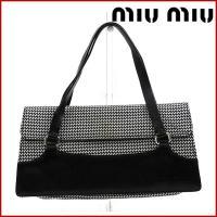■管理番号:X564 【商品説明】 ミュウミュウのハンドバッグです。黒のレザーに千鳥柄が入ったオシャ...