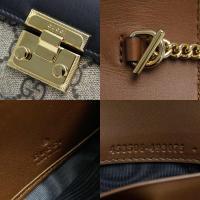 グッチ Gucci 二つ折り長財布 レザーxGG キャンバス ブラックxベージュ 展示品