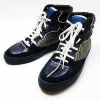 スニーカー 靴 (42) ネイビー×グレー レザー×スエード×ナイロン 中古