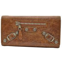 二つ折り長財布 ブラウンxシルバー レザーx金属素材 中古