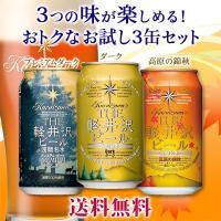 【特別提供品】 THE軽井沢ビール プレミアムダーク、ダーク、高原の錦秋(赤ビール)が各1缶入った送...