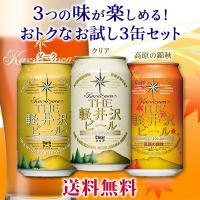 【特別提供品】 THE軽井沢ビール クリア、ダーク、高原の錦秋(赤ビール)が各1缶入った送料込のお試...