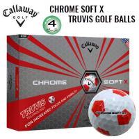 キャロウェイ クロムソフト X トゥルービス 4ピース ゴルフボール (ホワイト/レッド) 1ダース(12球入)