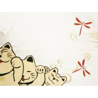 絡繰魂・笑猫 長袖Tシャツ 263161  刺繍&プリント『にゃーにゃートレイン』長袖Tシャツ ホワイト