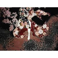華鳥風月 和柄半袖Tシャツ 352215 刺繍&抜染プリント『花魁火縄銃/月夜桜』半袖Tシャツ ブラック