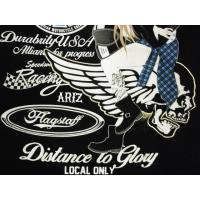 フラッグスタッフ FLAG STAFF Tシャツ 452352 刺繍&抜染プリント バイカーガール 半袖Tシャツ ブラック