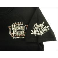 ディズニー ミッキーマウス×ローブローナックル・コラボ 半袖Tシャツ 525510 刺繍&プリント「SURF LIFE MICKEY 」半袖Tシャツ ブラック