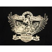NAITIVE GANG FAMILY/ネイティブギャングファミリー 半袖Tシャツ NGF7-591 「バイカースカル」編上げリメイクパンヘッドTシャツ ブラック