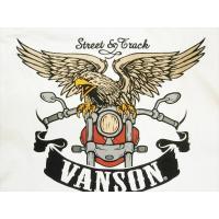 VANSON・バンソン 長袖Tシャツ NVLT-717 刺繍&プリント「バイク&イーグル」ロングTシャツ ホワイト